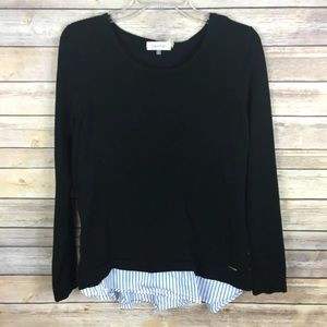 Calvin Klein Small Black Blue Faux Blouse Knit Top